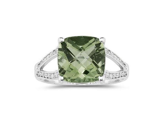 Cushion Cut Green Amethyst and Diamond Ring 10k White Gold