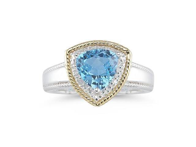 Trillion Cut Blue Topaz and Diamond Ring in 14K Yellow Gold and Silver