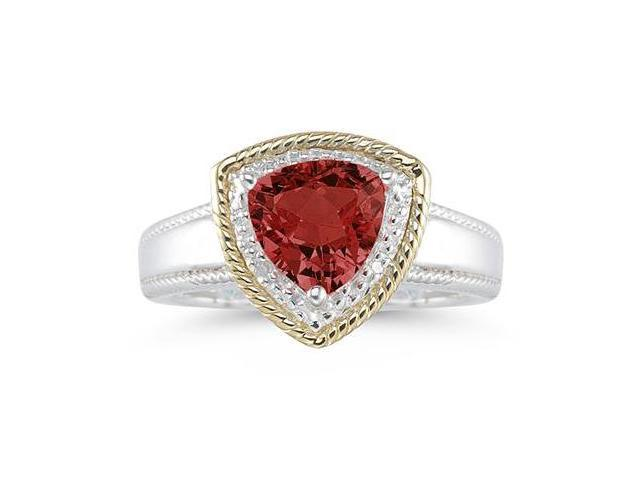 Trillion Cut Garnet and Diamond Ring in 14K Yellow Gold and Silver