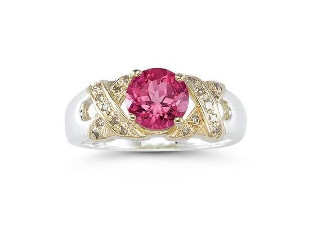 1.3ct Pink Topaz And Diamond Ring in 14K Yellow Gold And Silver