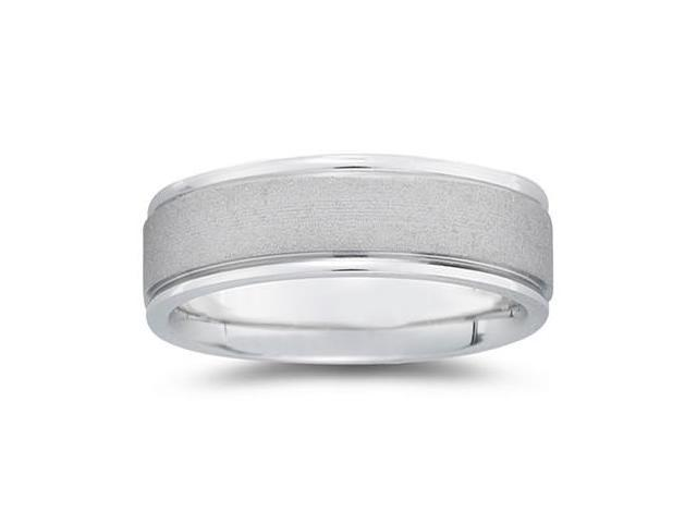 7 mm Brushed Center Comfort-Fit Wedding Band in 14k White Gold