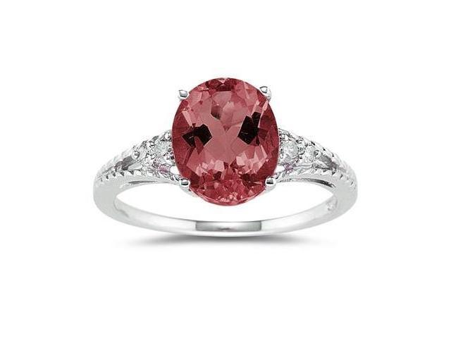 Oval Cut Garnet & Diamond Ring in 14k White Gold
