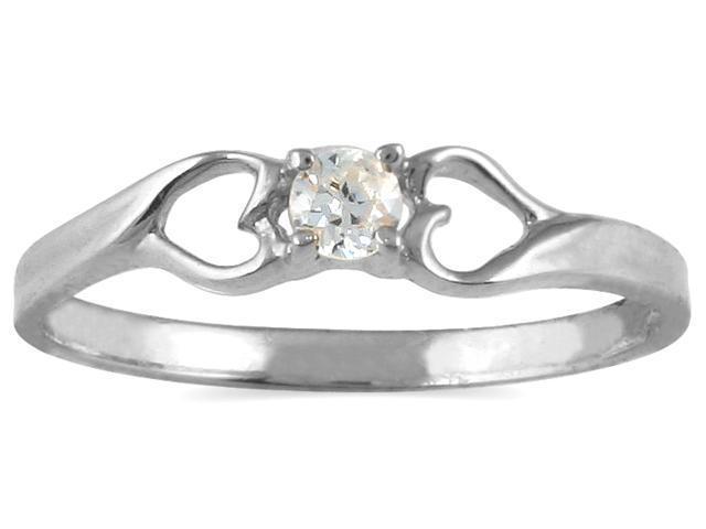 1/10 CTW Diamond Heart Promise Ring in 10K White Gold