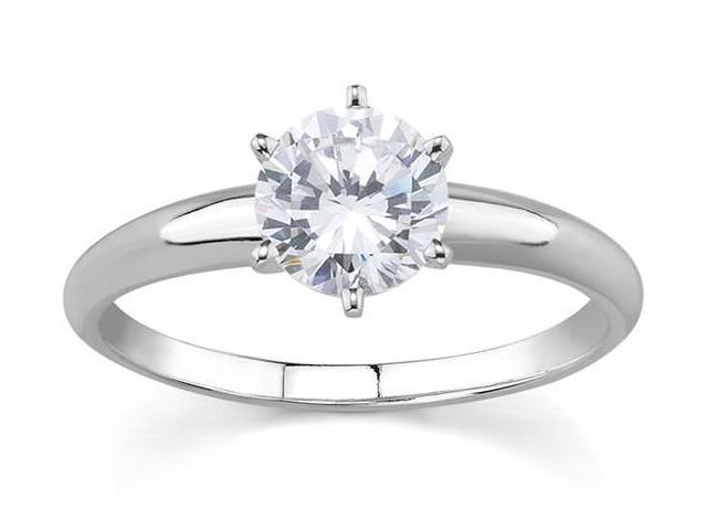 1/7 Carat Round Diamond Solitaire Ring in 14K White Gold