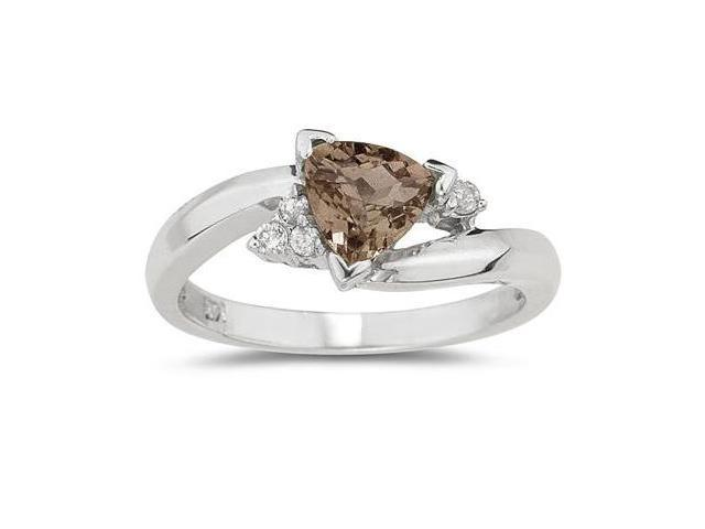 .75ct Trillion Cut Smokey Quartz  and Diamond Ring in 14K White Gold