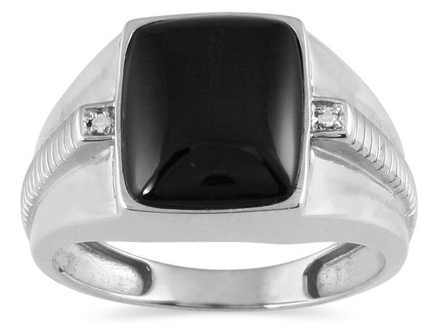 Men's Onyx and Diamond Ring in 10K White Gold