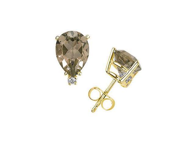 12X8mm Pear Smokey Quartz and Diamond Stud Earrings in 14K Yellow Gold
