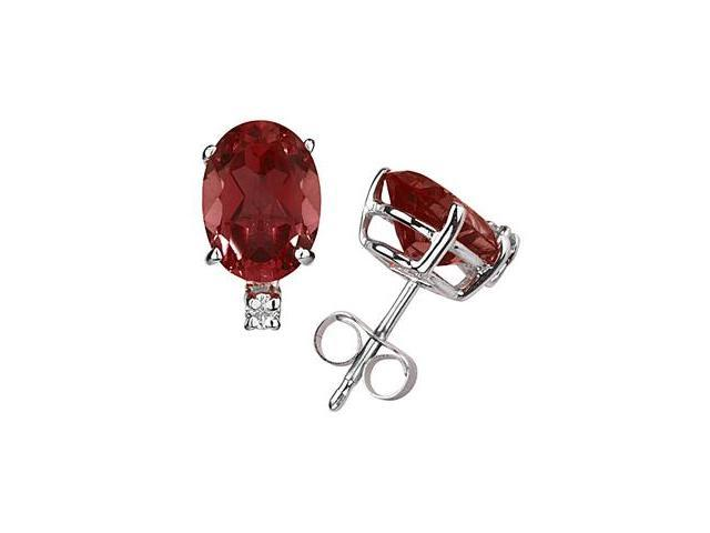 11X8mm Oval Garnet and Diamond Stud Earrings in 14K White Gold