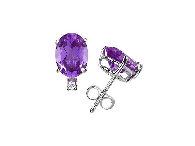 11X8mm Oval Amethyst and Diamond Stud Earrings in 14K White Gold