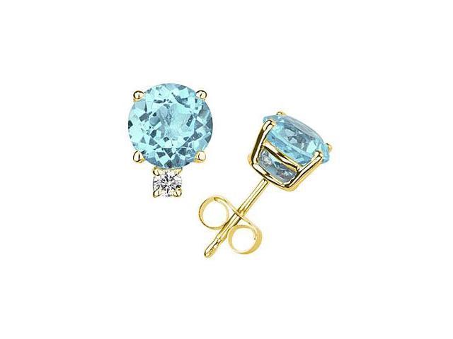 6mm Round Aquamarine and Diamond Stud Earrings in 14K Yellow Gold