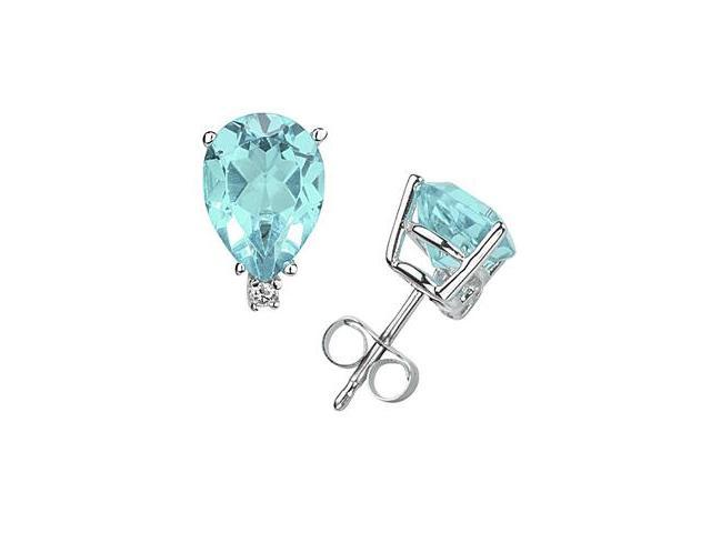 12X8mm Pear Aquamarine and Diamond Stud Earrings in 14K White Gold