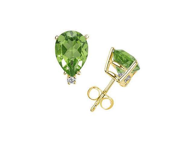 9X7mm Pear Peridot and Diamond Stud Earrings in 14K Yellow Gold