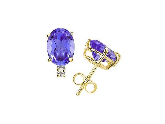 7X5mm Oval Tanzanite and Diamond Stud Earrings in 14K Yellow Gold