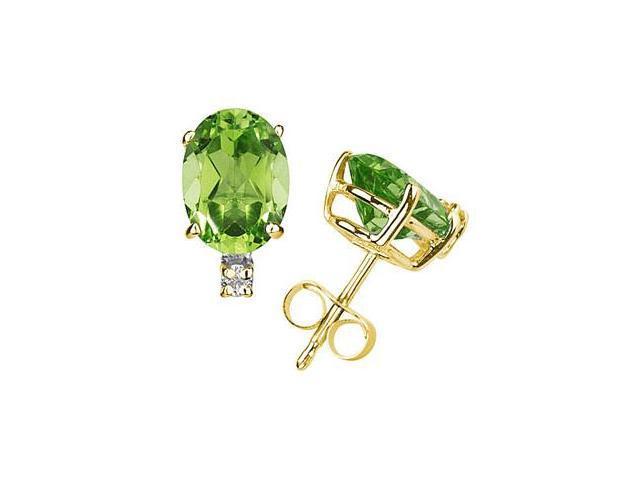 7X5mm Oval Peridot and Diamond Stud Earrings in 14K Yellow Gold