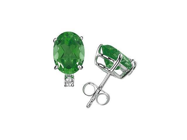 7X5mm Oval Emerald and Diamond Stud Earrings in 14K White Gold