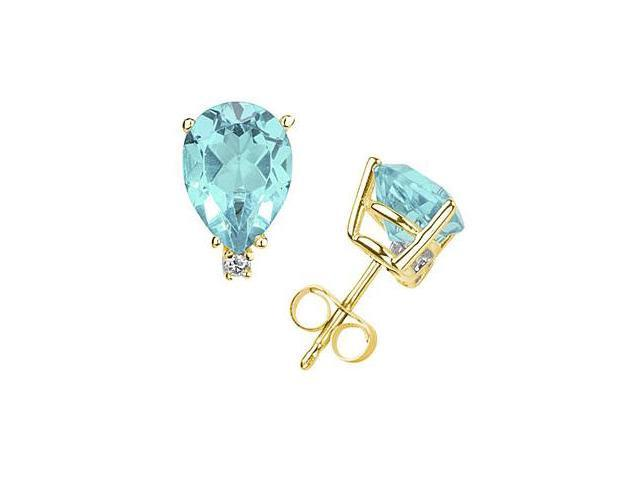 8X6mm Pear Aquamarine and Diamond Stud Earrings in 14K Yellow Gold