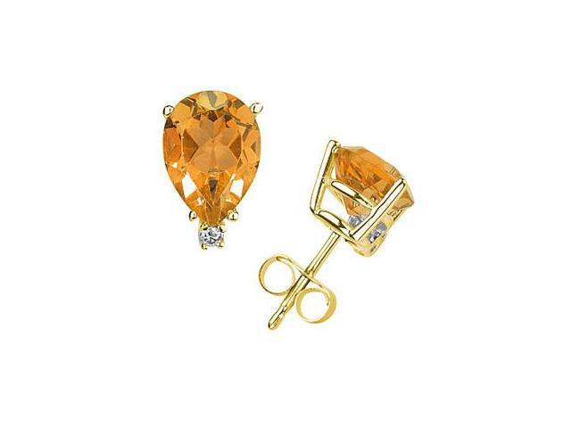 8X6mm Pear Citrine and Diamond Stud Earrings in 14K Yellow Gold