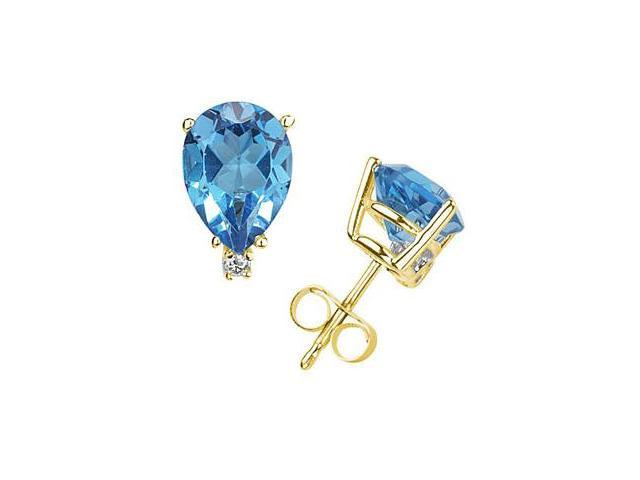 7X5mm Pear Blue Topaz and Diamond Stud Earrings in 14K Yellow Gold