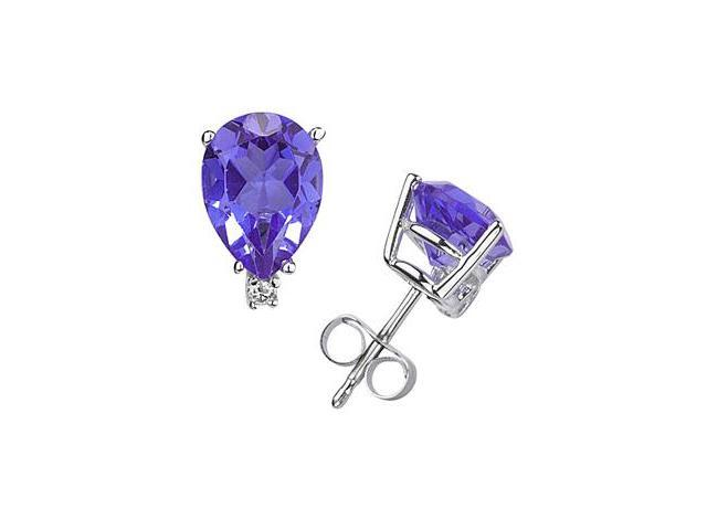 6X4mm Pear Tanzanite and Diamond Stud Earrings in 14K White Gold