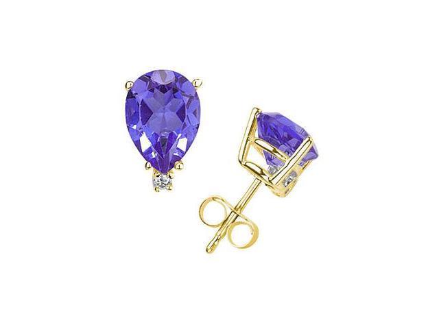 6X4mm Pear Tanzanite and Diamond Stud Earrings in 14K Yellow Gold