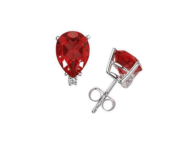 6X4mm Pear Ruby and Diamond Stud Earrings in 14K White Gold