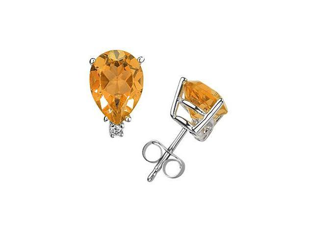 6X4mm Pear Citrine and Diamond Stud Earrings in 14K White Gold