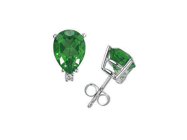 6X4mm Pear Emerald and Diamond Stud Earrings in 14K White Gold