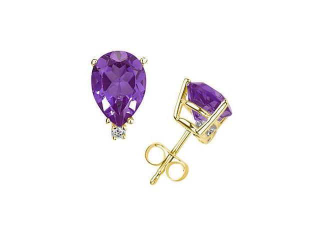 6X4mm Pear Amethyst and Diamond Stud Earrings in 14K Yellow Gold