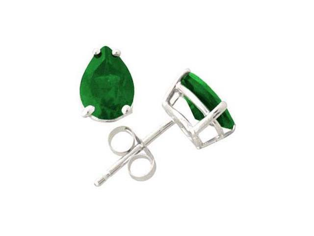 All-Natural Genuine 8x6 mm, Pear Shape Emerald earrings set in 14k White Gold