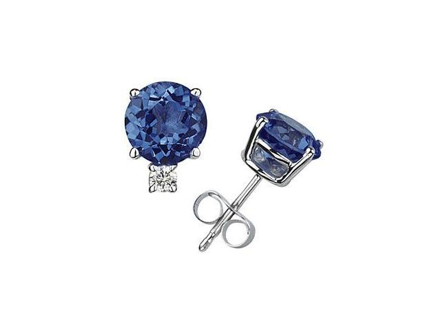 5mm Round Sapphire and Diamond Stud Earrings in 14K White Gold