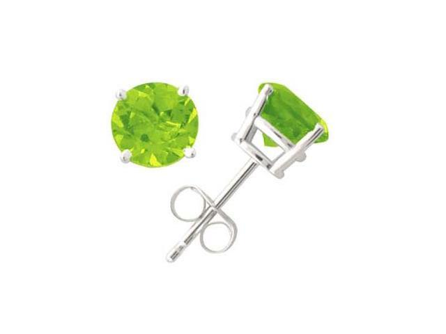 All-Natural Genuine 5 mm, Round Peridot earrings set in 14k White Gold