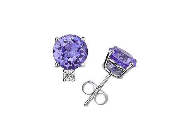 4mm Round Tanzanite and Diamond Stud Earrings in 14K White Gold