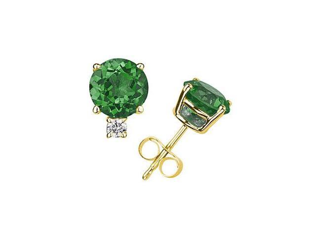 4mm Round Emerald and Diamond Stud Earrings in 14K Yellow Gold