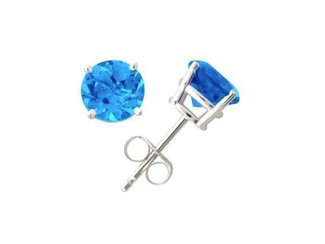All-Natural Genuine 4 mm, Round Blue Topaz earrings set in 14k White Gold