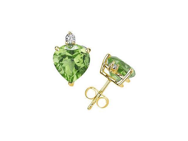 10mm Heart Peridot and Diamond Stud Earrings in 14K Yellow Gold