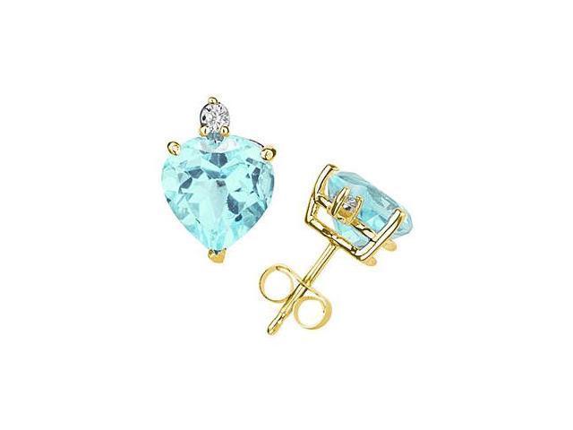 10mm Heart Aquamarine and Diamond Stud Earrings in 14K Yellow Gold
