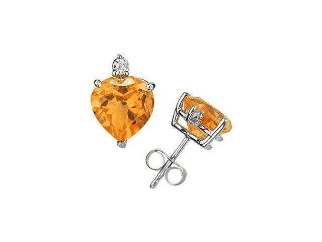 10mm Heart Citrine and Diamond Stud Earrings in 14K White Gold