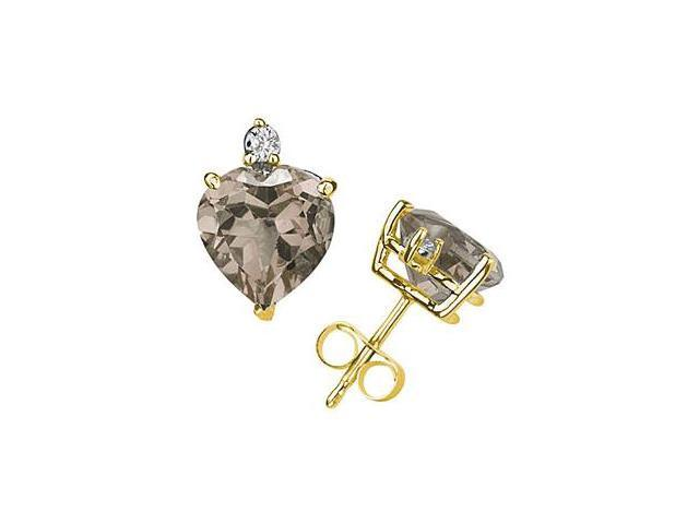 9mm Heart Smokey Quartz and Diamond Stud Earrings in 14K Yellow Gold