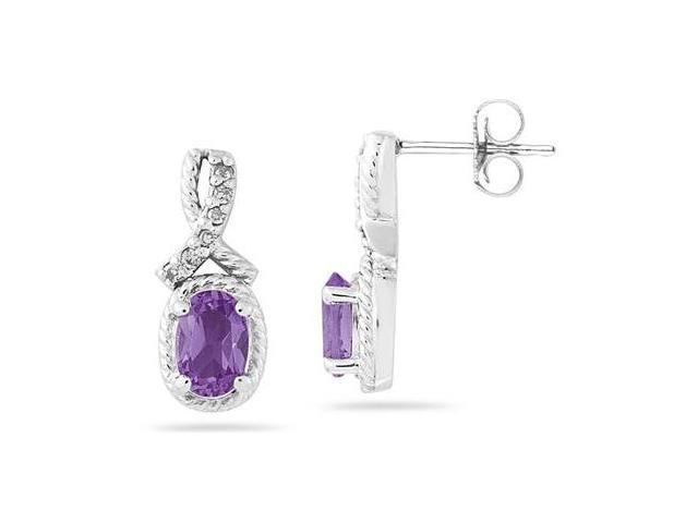 Oval Shaped Amethyst and Diamond Earrings in White Gold