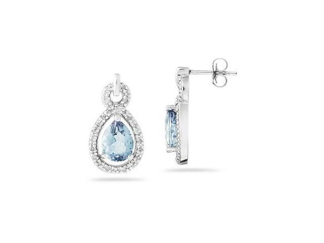 Pear Shaped Aquamarine and Diamond Earrings in White Gold