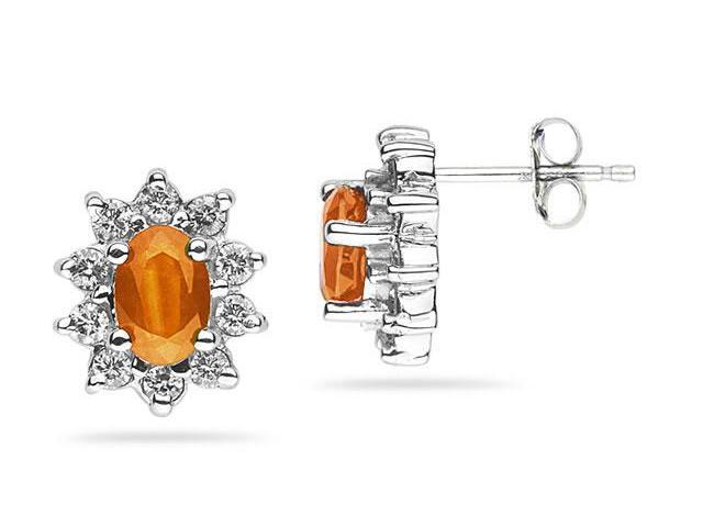 6X4mm Oval Shaped Citrine and Diamond Flower Earrings in 14k White Gold
