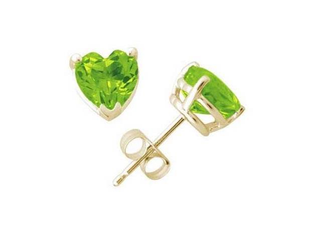 All-Natural Genuine 6 mm, Heart Shape Peridot earrings set in 14k Yellow gold