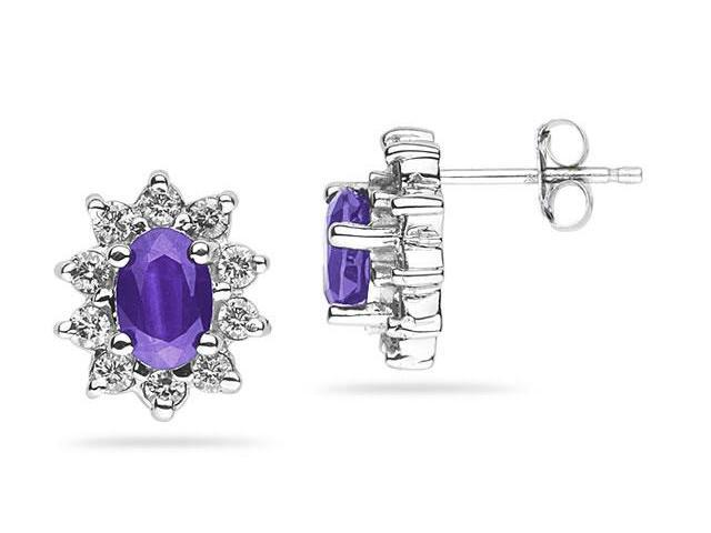 6X4mm Oval Shaped Amethyst and Diamond Flower Earrings in 14k White Gold
