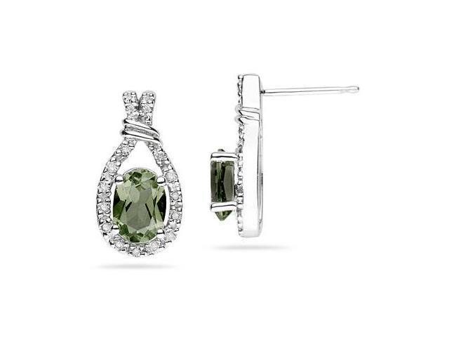 Green Amethyst  & Diamonds Oval Shape Earrings in White Gold