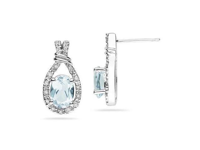 Aquamarine   & Diamonds Oval Shape Earrings in White Gold