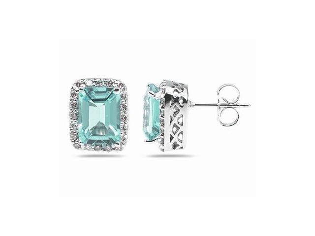 3.75ctw Emerald Cut Aquamarine  and Diamond Earrings in 14K White Gold
