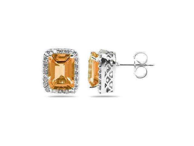 3.75ctw Emerald Cut Citrine and Diamond Earrings in 14K White Gold