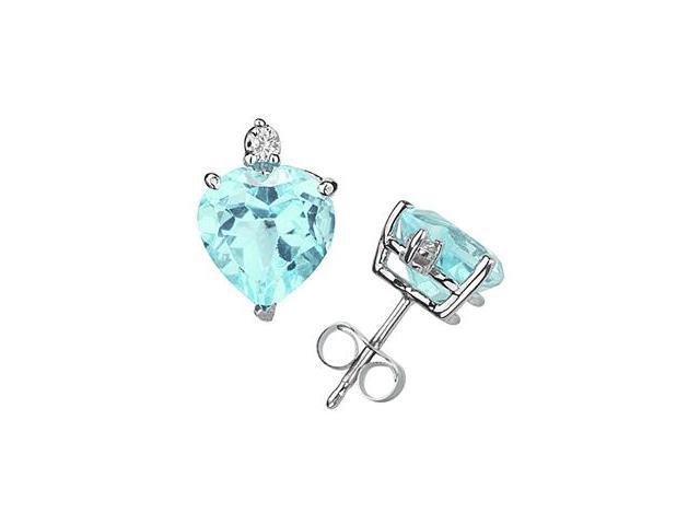 6mm Heart Aquamarine and Diamond Stud Earrings in 14K White Gold