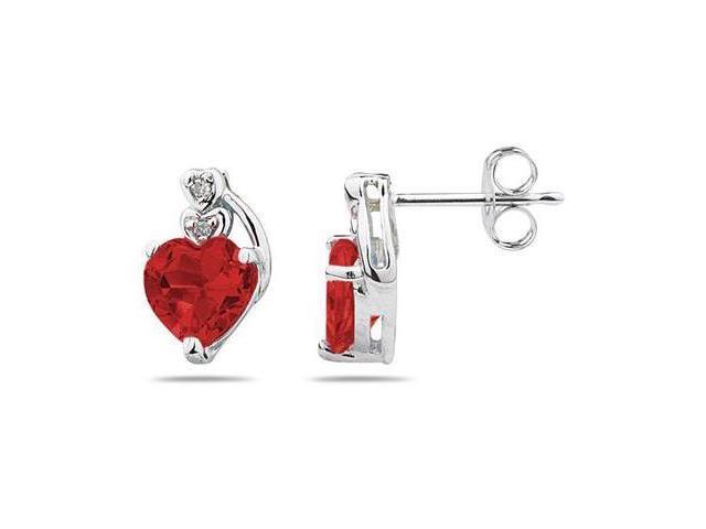 Heart Shape Garnet & Diamond Earrings in White Gold