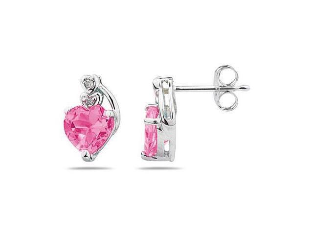Heart Shape Pink  Topaz & Diamond Earrings in White Gold